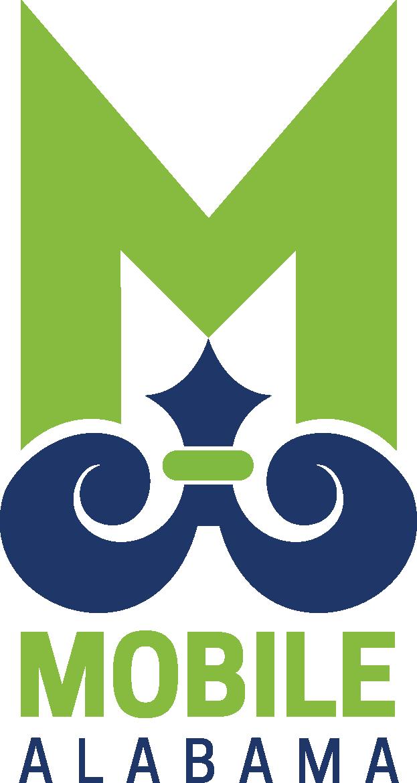 city of mobile logo green M over blue symbol